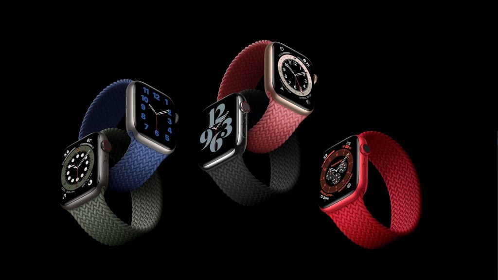 A Product (RED) version of the Apple Watch Series 6.