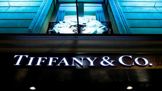 FILE PHOTO: A Tiffany & Co. logo is seen outside a store in Paris, France, November 22, 2019. REUTERS/Gonzalo Fuentes/File Photo