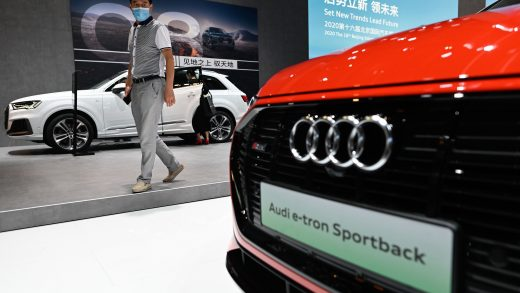 A visitor looks at an Audi e-trion car at the Beijing Auto Show in Beijing on September 27, 2020. (Photo by WANG Zhao / AFP) (Photo by WANG ZHAO/AFP via Getty Images)