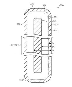 Detail from the patent showing how layers may mean stress can be routed away from where it would crack the screen