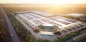 Tesla gigafactory in Berlin is shown here in a rendering. Tesla