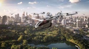 Source: EmbraerX  A rendering of Eve, the first urban air mobility project from EmbraerX
