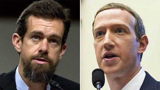 CEO Facebook Mark Zuckerberg and CEO Twitter Jack Dorsey