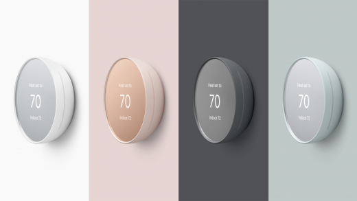 The new Nest Thermostat has a mirrored front and comes in four different colors Image: Google