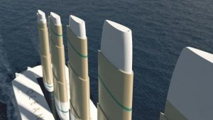 """The telescopic """"wing sails"""" of Oceanbird will be the tallest ever built. Wallenius Marine"""