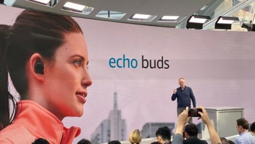 Amazon announces new wireless earbuds, Echo Buds, at an event in Seattle on Sept. 25, 2019. CNBC | Todd Haselton