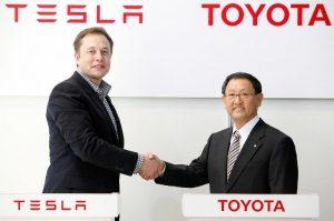 Tesla Elon Musk Toyota President Akio Toyoda