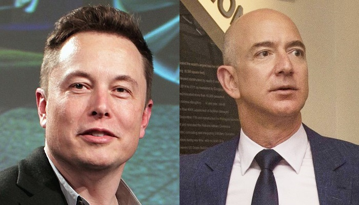SpaceX CEO Elon Musk and Blue Origin founder Jeff Bezos. John Locher/AP and Odd Andersen/AFP via Getty Images