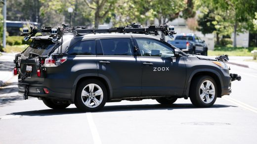 A self-driving Zoox vehicle on a test run in San Francisco. ZOOX