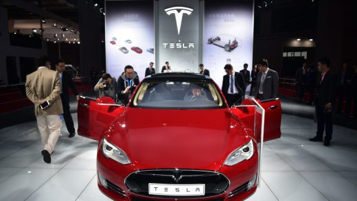 A Tesla Model S P85d car is displayed at the 16th Shanghai International Automobile Industry Exhibition in Shanghai on April 20, 2015. Global car makers showed off hundreds of vehicles in China's commercial hub Shanghai on April 20, as the world's biggest auto market continues to attract despite a sharp deceleration in sales growth. AFP PHOTO / JOHANNES EISELE (Photo credit should read JOHANNES EISELE/AFP/Getty Images)