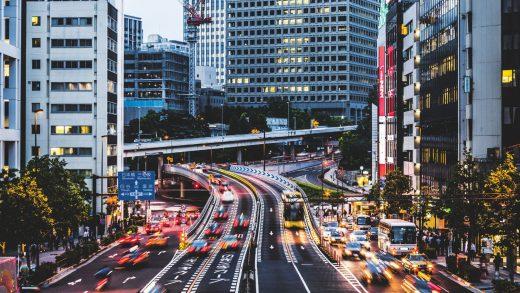 Night traffic in the city - Akasaka, Tokyo, Japan