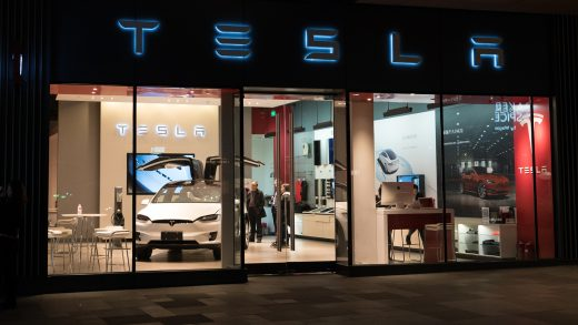 Chengdu Hubei China 22 November 2017: Tesla inc cars flagship store in Chengdu China with Tesla logo and an electric car model X inside