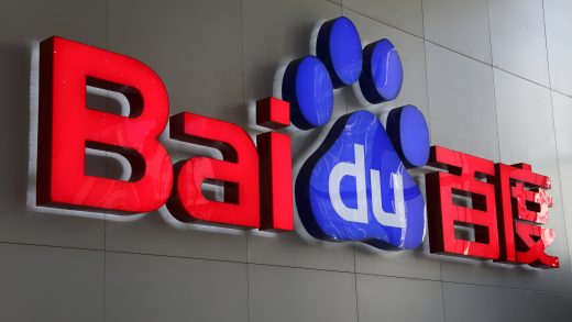 The Baidu Inc. logo is displayed in the reception are of the company's headquarters in Beijing, China, on Wednesday, Nov. 12, 2014. While Beijing-based Baidu, owner of China's most-used search-engine, is available around the world, more than 99 percent of its revenue comes from China. Photographer: Tomohiro Ohsumi/Bloomberg via Getty Images