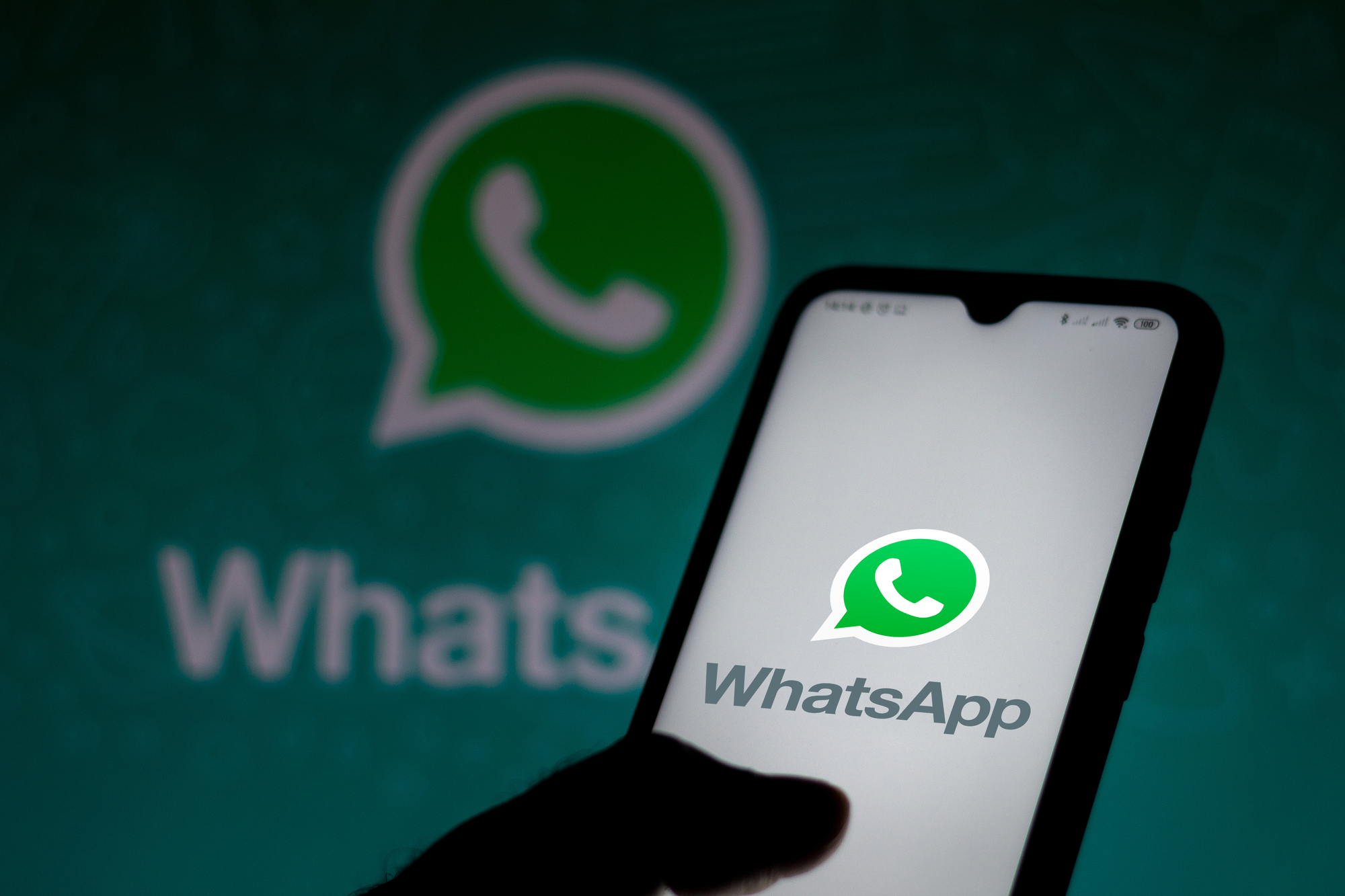 July 10, 2020, Brazil. In this photo illustration the WhatsApp logo seen displayed on a smartphone