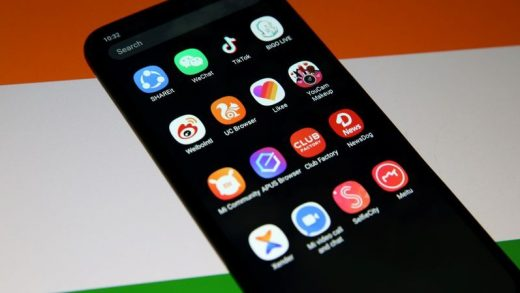 FILE PHOTO: Smartphone with Chinese applications is seen in front of a displayed Indian flag in this illustration picture taken July 2, 2020. REUTERS/Dado Ruvic/Illustration