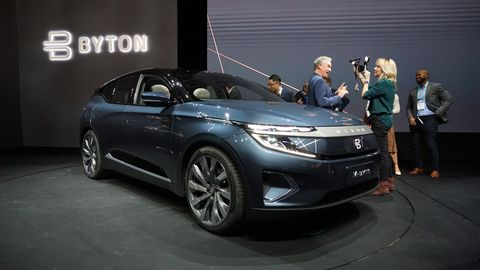 A Byton M-Byte electric sports utility vehicle (SUV) is displayed at the CES 2020 event in Las Vegas, Nevada, U.S., on Sunday, Jan. 5, 2020.Bridget Bennett | Bloomberg | Getty Images