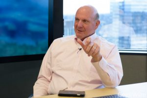 Steve Ballmer discusses USA Facts (GeekWire Photo / Kevin Lisota)