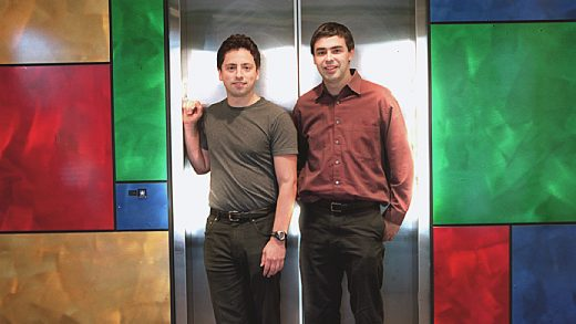 Google cofounders Larry Page, left, and Sergey Brin, right