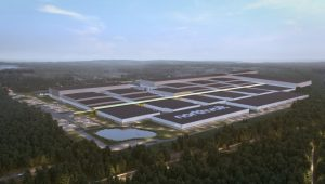 A rendering of the Northvolt Dwa factory in Gdansk.