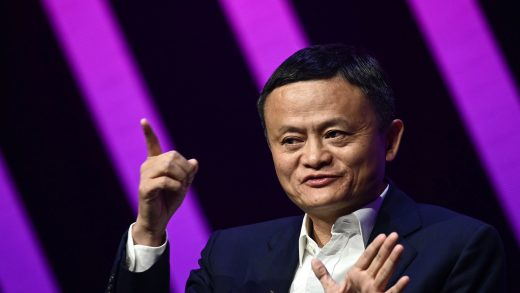 Jack Ma, CEO of Chinese e-commerce giant Alibaba, gestures as he speaks during his visit at the Vivatech startups and innovation fair, in Paris on May 16, 2019. (Photo by Philippe LOPEZ / AFP) (Photo credit should read PHILIPPE LOPEZ/AFP via Getty Images)