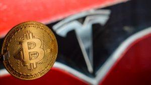 Bitcoin Tesla logo
