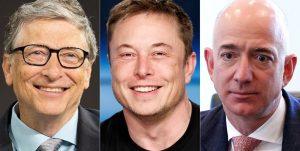 Elon Musk, Bill Gates and Jeff Bezos