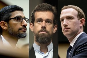 Mark Zuckerberg, CEO of Facebook, Jack Dorsey, CEO of Twitter and Sundar Pichai, CEO of Google