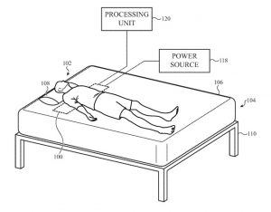 Detail from the patent showing the positioning of a sleep tracking monitor
