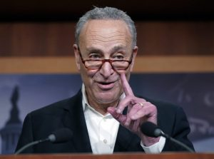 Senate Minority Leader Chuck Schumer of N.Y., gestures while speaking to members of the media at the Capitol in Washington, Wednesday, Nov. 7, 2018. (AP Photo/Pablo Martinez Monsivais)