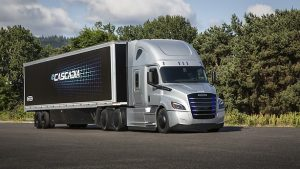 Daimler Trucks' line-up of commercial electric vehicles (from left to right): Freightliner eM2, Freightliner eCascadia, Thomas Built Buses Saf-T-Liner C2 Jouley, FUSO eCanter [Credit: Daimler North America]