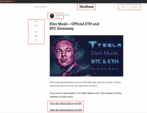 A screenshot of a now-deleted page claiming to be giving away bitcoin from Elon Musk. Medium