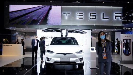 A Tesla EV model seen in Shanghai in November 2020