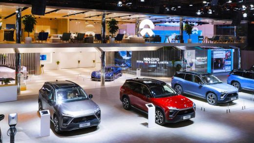 A Nio ES6 electric vehicle is on display at an automotive experience area of Wanda Plaza on Nov. 28, 2020 in Beijing, China.
