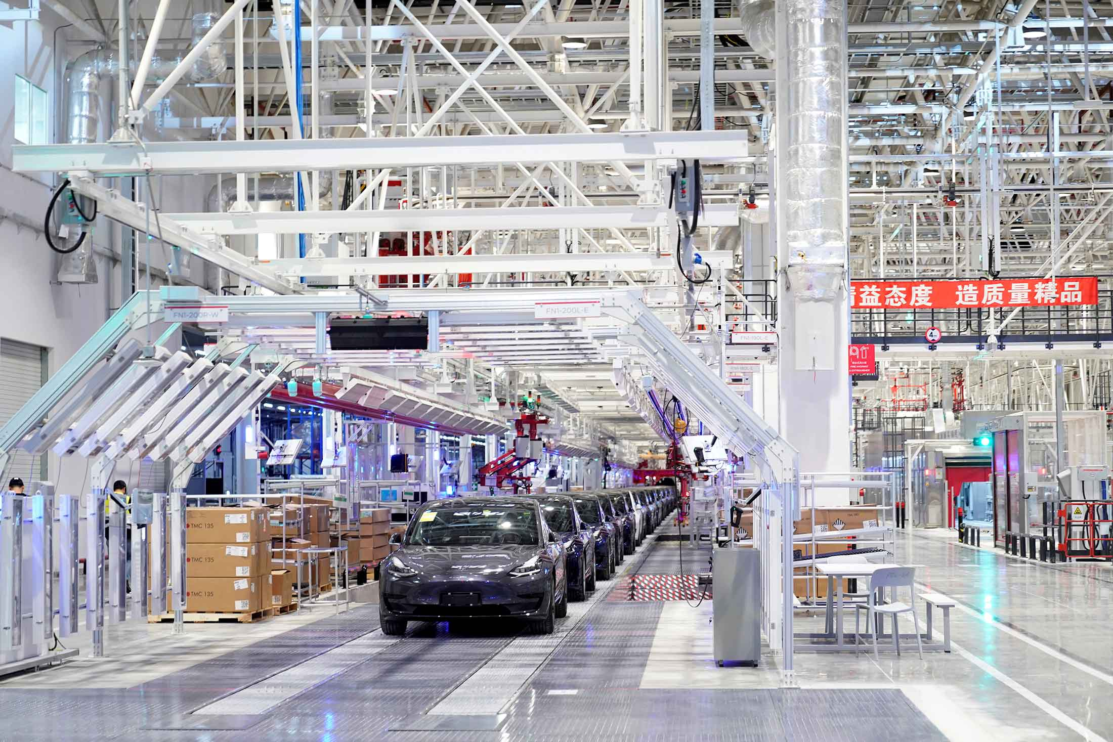 China-made Model 3s during a delivery event at Tesla's Shanghai factory last year