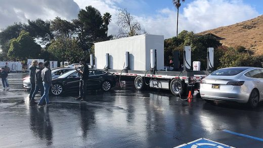Tesla's mobile Supercharger system, which is deployed during peak days. (Credit: Brian Swenson/Twitter)