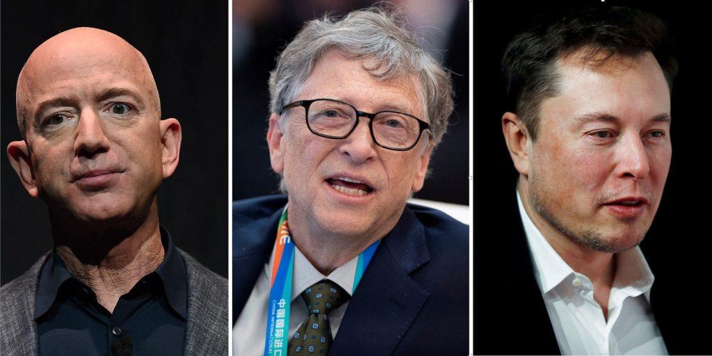 Jeff Bezos (L), Elon Musk (C) and Bill Gates (R).