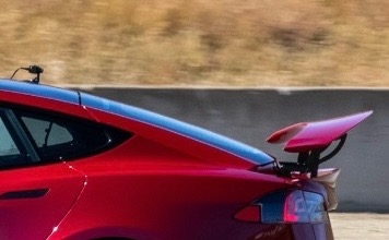 Tesla Model S Plaid rear wing spotted track testing at Laguna