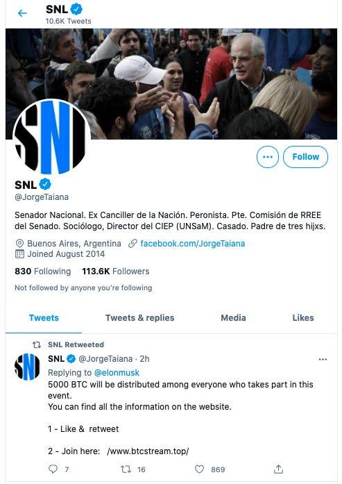 "Argentina Senador Nacional Jorge Taiana's account during the ""Saturday Night Live"" takeover. Twitter"