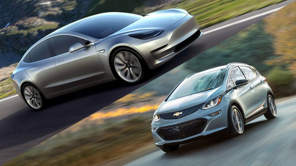 Tesla Model 3 and Chevy Bolt