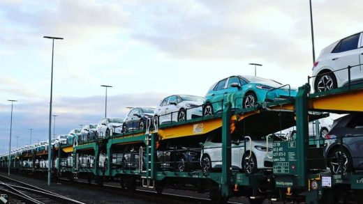 Train loads of Volkswagen ID.4 and ID.3 models[-] have helped Volkswagen double Tesla's EV sales in the rolling 12-month data to the end of April. Photo: Hendrik Schmidt/picture alliance via Getty Images DPA/PICTURE ALLIANCE VIA GETTY IMAGES