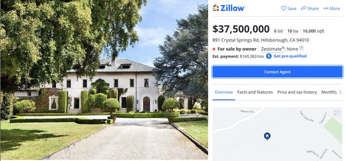 Zillow listing for 891 Crystal Springs Rd, Hillsborough, CA. Zillow