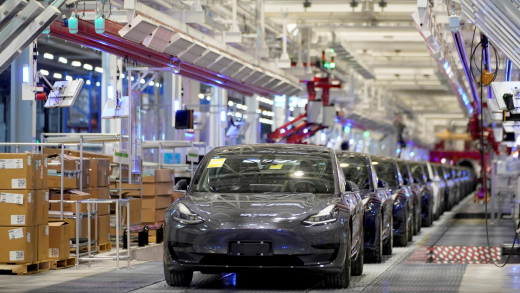Tesla China-made Model 3 vehicles are seen during a delivery event at its factory in Shanghai, China January 7, 2020.