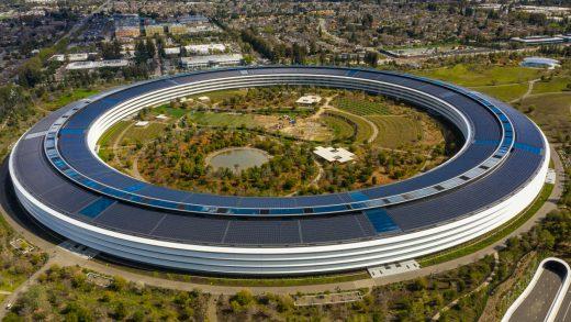 Cupertino, CA, USA - March 8, 2019: Aerial photo Apple Park spaceship Cupertino CA