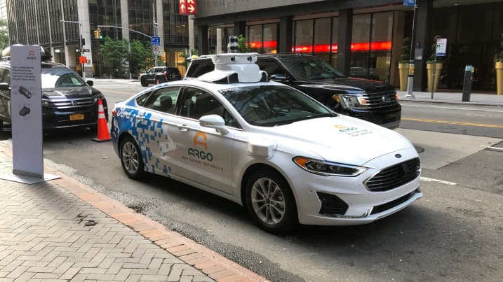 An Argo-modified Ford autonomous vehicle parked in Manhattan on Friday, July 12, 2019. Paul Eisenstein | CNBC
