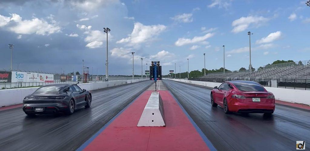 Tesla Model S Plaid vs Porsche Taycan Turbo S Credit: DragTimes/YouTube