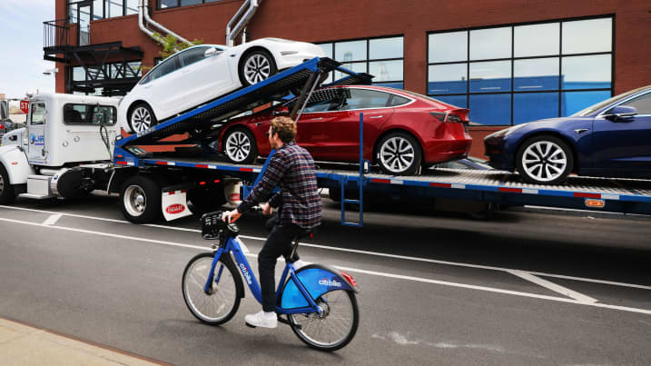 Tesla cars are delivered to a showroom in Brooklyn, New York on April 25, 2019. Spencer Platt | Getty Images