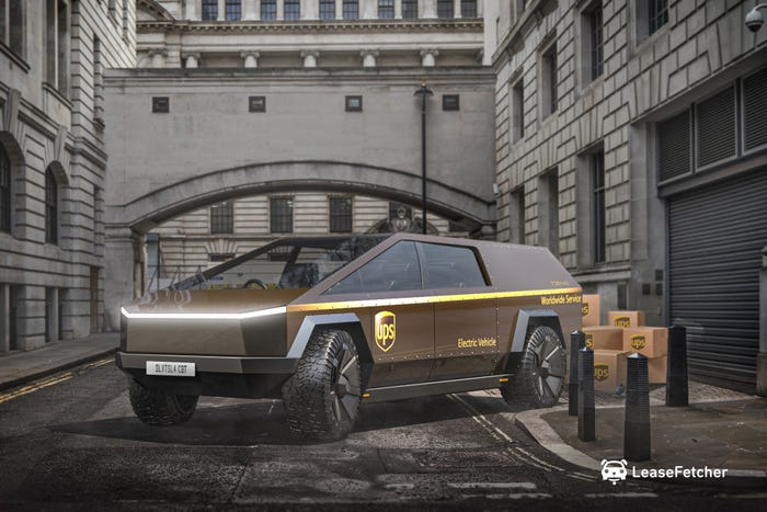 A rendering of what a Tesla delivery van could look like. LeaseFetcher