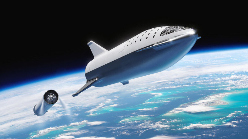 Starship after separation from Super Heavy