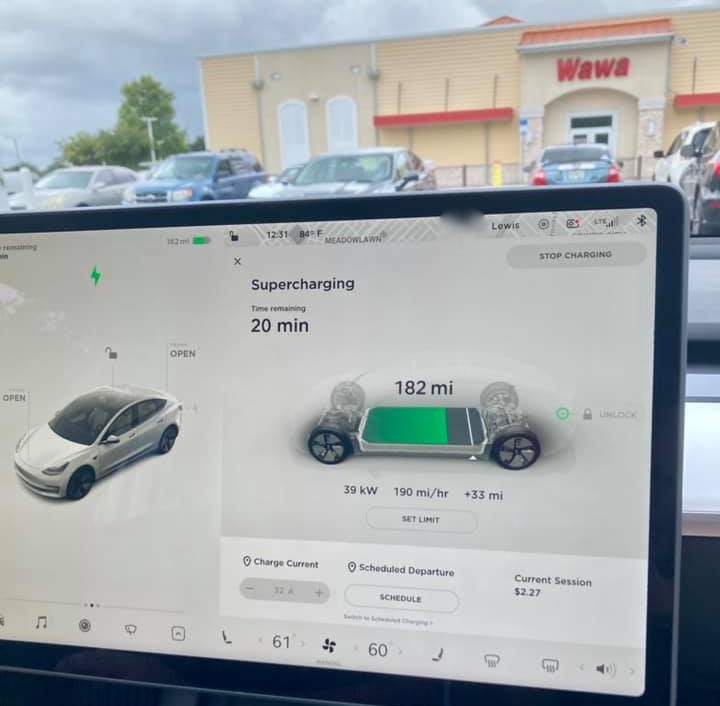 We were at the Supercharger in Pinellas Park, Florida. Plus, there's ice cream.