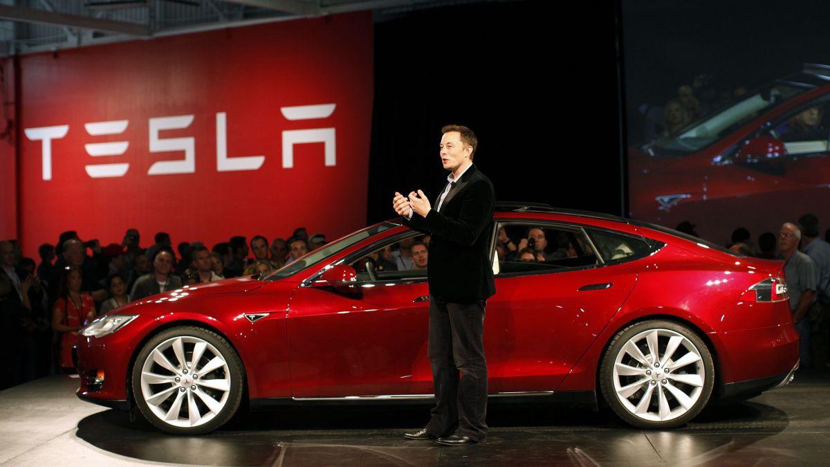 CEO Tesla Elon Musk and Model 3